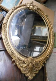 Huge Gilt Mirror Oval Shaped Hanging Wall Mirror